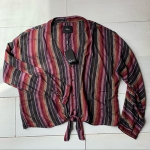 NWT Rails linen blend stripe top
